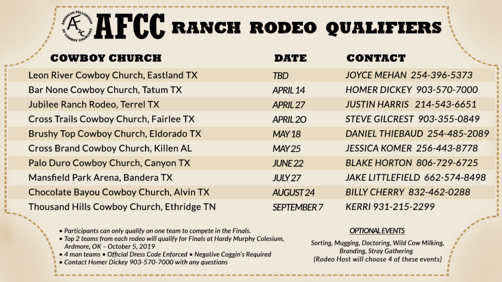 American Fellowship of Cowboy Churches AFCC Ranch Rodeo Dates